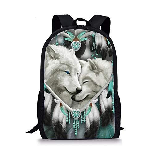 Showudesigns Rucksäcke Schultaschen für Jugendliche Jungen Mädchen Rucksack Büchertaschen Reisen, Wolf Traumfänger (Weiß) - Z-L4323C6-2