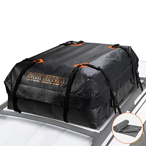 SANHIMA Rooftop Cargo Bag - (15 Cubic Feet) Heavy Duty Roof Bag - Waterproof Excellent Quality Car Top Carrier Bag Fits All Cars with/Without Rack - Roof Top Car Bag, 1 Year Warranty