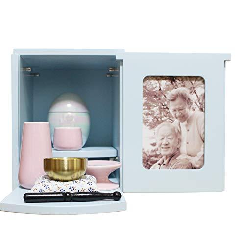 ミニ仏壇 メモリアルBOX ブルー ミニ仏具3点セット ピンク おりん 2〜4寸骨壷収納