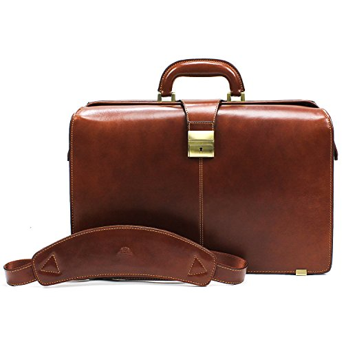 """Men's 17"""" Laptop Lawyer's Briefcase for Business Professionals Top Handle Organization Pockets Lockable Closure and Shoulder Strap Made in Real Italian Bullhide Leather"""