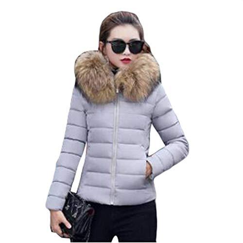 Yijinstyle Mujer Chaqueta de Invierno Parka Slim Abrigo Corto con Capucha Acolchado Caliente...
