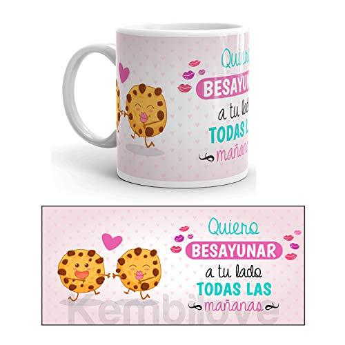 Kembilove Taza de Desayuno Quiero Besayunar a tu Lado para Parejas con Frases Graciosas - Regalo Original con diseños Coloridos para Parejas, San Valentín - Taza de café para Regalar Enamorados