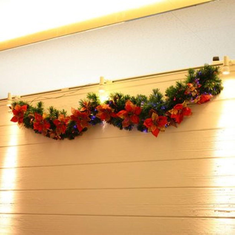 前投薬先生開発する【クリスマス】200cm クリスマスファイバーガーランド(ドアオーナメント/ポインセチア) TT403-200