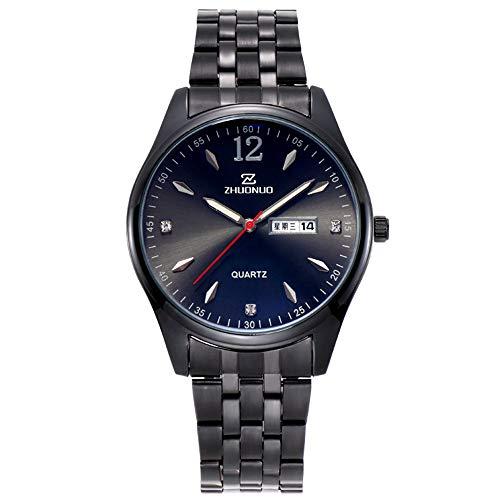 Reloj Hombre Moda Luminoso Impermeable Reloj para Hombre Banda de Acero Calendario Doble Reloj de Cuarzo Reloj de Marca de Acero Inoxidable Reloj de Negocios para Hombre