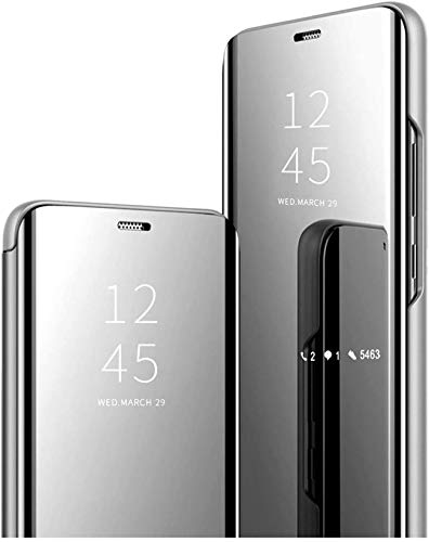 Carcasa compatible con Huawei Mate 20 Pro – Carcasa para Huawei Mate 20 Pro, antigolpes, transparente con función atril de 360 grados, protección con espejo (plata, Huawei Mate 20 Pro)