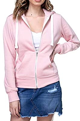 Urban Look Womens Active Long Sleeve Fleece Zip Up Hoodie (Large, B1 Solid Blush Pink)