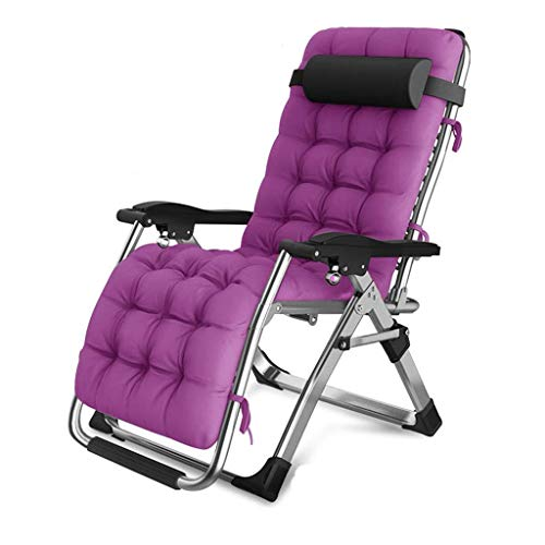 ZWWZ Portable Folding Lounge Outdoor Camping Lounge Beach Garden Patio Recliner Reclining Chair with Purple Skin-Friendly Cotton Pad Capacity 150 Kg HAIKE