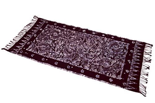 Guru-Shop Batik Tafelloper, Hangend aan de Muur uit Indonesië - Ontwerp 2, Paars, Katoen, 110x55 cm, Tafellopers en Tafelkleden