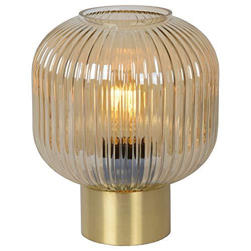 Retro Tischlampe, Tisch-leuchte & Nachttischlampe E27 Wohnzimmer Schlafzimmer Amber Gold-matt Glas Stoff