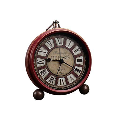 Reloj despertador decorativo silencioso sin tictac, estilo retro, para sala de estar, dormitorio, mesita de noche, reloj despertador con batería, regalo nostálgico fácil (color: dorado)