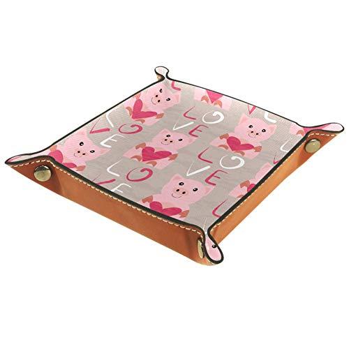 Laire Daniel Cute Pig - Bandeja plegable de piel sintética para relojes...