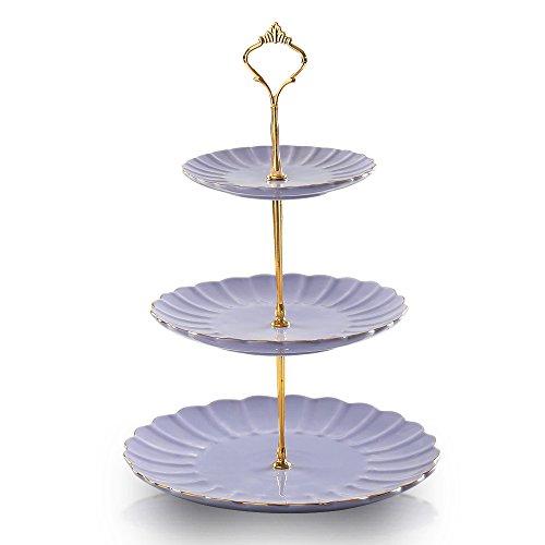 SWEEJAR 3 Tier Ceramic Cake Stand Wedding, Dessert Cupcake Stand for Tea Party Serving Platter