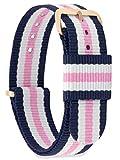 MOMENTO Correa de Reloj de NATO Nailon para Mujer y Hombre con Hebilla de Acero Inoxidable en Dorada Rosa con Tela Azul Blanca Rosa en 20mm