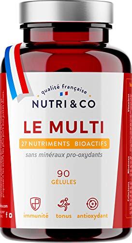 Multivitamines et Minéraux 27 Nutriments • Zinc, Quercétine, Vitamines A, B, C, D3, E, K2 Bioactives & Minéraux Haute Absorption • Complexe Vitalité Homme/Femme • 90 Gélules Made in France • Nutri&Co