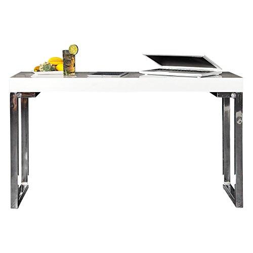 DuNord Design Schreibtisch Laptoptisch Konsole hochglanz weiss 120 cm