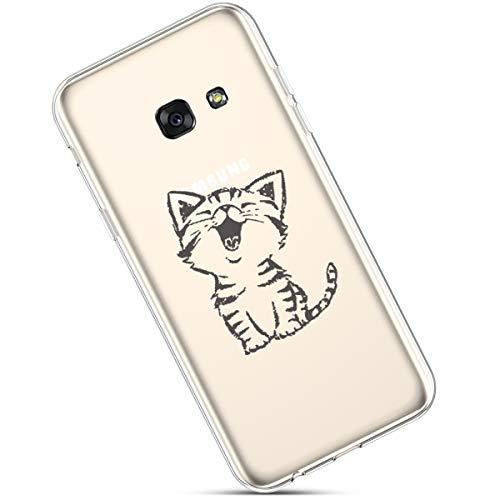 Felfy Funda Compatible con Galaxy A5 2017 Carcasa,Compatible con Funda Galaxy A5 2017 Transparente Silicona,Moda Pintado Patrón Ultra Delgado Anti-Arañazos TPU Case.Gato