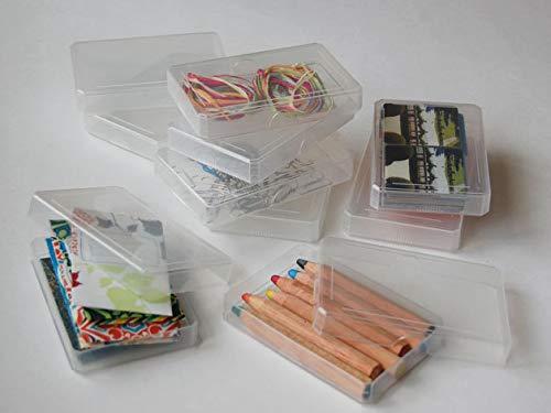 6 leere Kunststoff-Schachteln für Skatspiele und Krimskrams