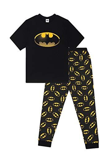 Herren-Pyjama, Batman-Motiv, Baumwolle, Größen S bis 5XL Gr. M, Schwarz