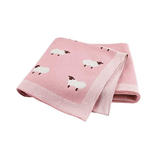 Taotigzu Babydecke Baumwolle kuschelige Strickdecke Swaddle Empfangen Decken,80 x 100 cm,Vielseitig Nutzbare Baby Wolldecke als Kinderwagendecke (Rosa)