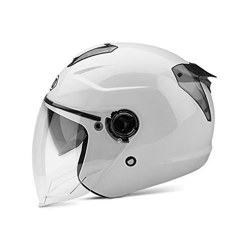 BOSEMAN Casco de Motocicleta con Visera, Adecuado para ciclomotores, Scooters, cruceros, Pase la Prueba de colisión para Cumplir con la Seguridad Vial(Blanco)