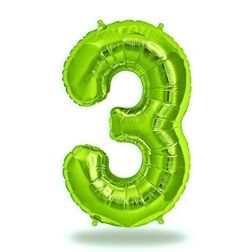 FUNXGO® Folienballon Zahl in Grün - XXL / ca.100cm Riesenzahl Ballons - Folienballons für Luft oder Helium als Geburtstag, Hochzeit , Jubiläum oder Abschluss Geschenk, Party Dekoration (Grün[3])