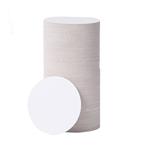 BAR DUDES Cardboard Coasters 100 Pack 4 inch Round - White Blank Coasters Bulk Set - Paper Coasters for Drinks, DIY, Kids Arts and Crafts