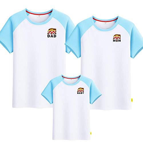 SANDA T-Shirt Pareja,Camiseta para Padres y niños, un jardín de Infantes de Manga Corta de Tres o Cuatro Grandes tamaños.-Azul Blanco_Papá s