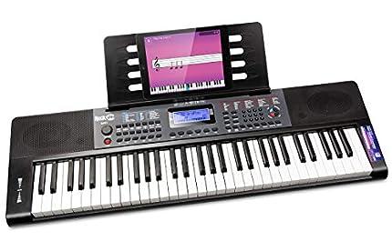 Piano RockJam con teclado de 61 teclas con inflexión de tono, fuente de alimentación, soporte para partituras, pegatinas para notas de piano y lecciones de piano