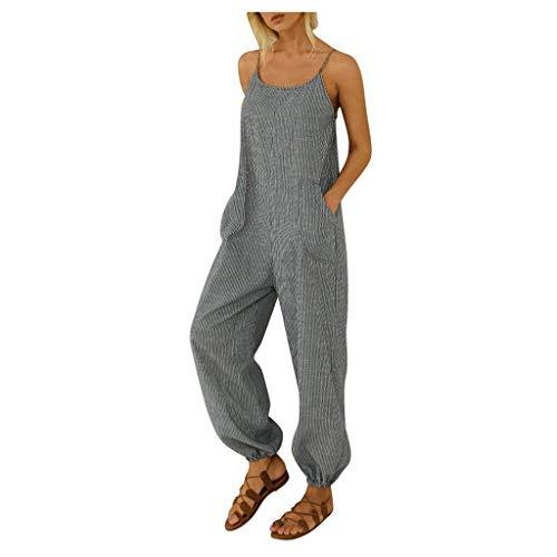 Kecar Jumpsuit Rompers for Women, Women Casual Boho Stripe Print Pocket Romper Long Playsuit Strap Jumpsuit, Women Pants (Black 4XL)