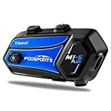 Fodsports M1-S PLUS Motorcycle Bluetooth Headset with Music Sharing, Microphone Mute, FM, Powerful 900mah Battery, Helmet Intercom up to 8 Riders with Noise Cancellation, Wonderful Sound, Blue, 1 pack