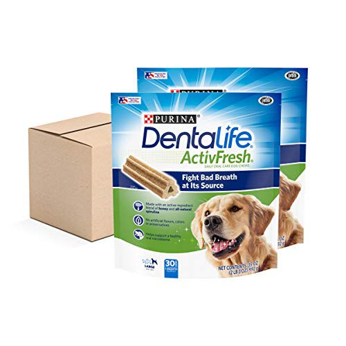 Purina DentaLife Large Breed Dog Dental Chews, ActivFresh Daily Oral Care Large Chews - (2) 30 ct. Pouches