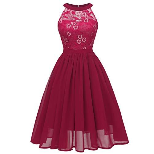 Yhah Sexy 2021 Neue Mode Abendkleid Chic Kleid Lange Damen Sommer Brautkleid Prinzessin Cocktailkleid Spitze Große Größe Rock Plissee Kleid Lang Mädchen Kleid Chiffon Gr. Medium, Vin5