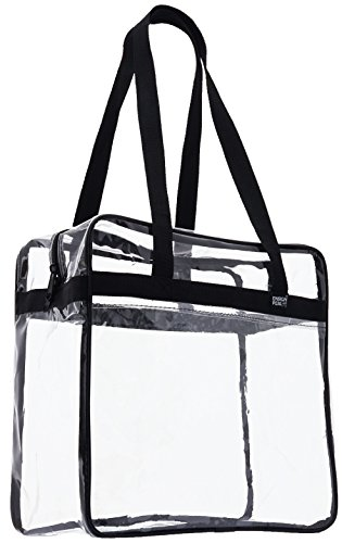 "Ensign Peak Clear Tote Bag Sports Stadium Approved - 12"" X 12"" X 6"" - Shoulder straps and zippered top. (Black)"