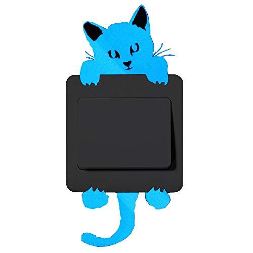Topgrowth Adhesivo removible luz azul interruptor de dibujos animados adhesivo luminoso adhesivo de pared fluorescente motivo gato, multicolor