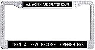 Toanovelty Women Firefighters Inspirational Quote White Shining Rhinestones Car Auto Tag Frame, Waterproof Bling Crystal Stainless Steel Car tag Frame 6' x 12' in