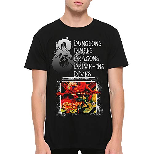 Dungeons and Dragons Funny T-Shirt, Dungeons & Diners & Dragons & Drive-Ins & Dives DND Tee (M) Black