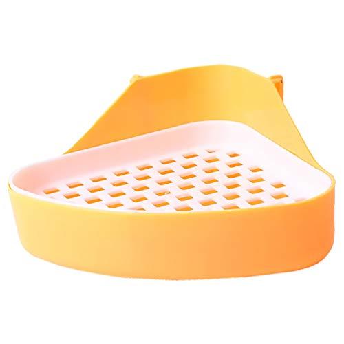 POPETPOP Caja de Arena de Conejo de Plástico Arena para Animales Pequeños Orinal de Entrenamiento Bandeja de Esquina Baño de Entrenamiento de Mascotas para Hámster Jerbo Conejito
