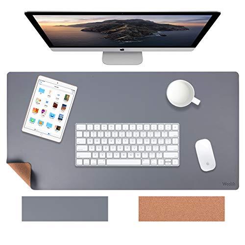 Weelth Schreibtischunterlage, 600 * 350mm Tischunterlage Naturkork & PU-Leder doppelseitige Mauspad, Laptop Tischunterlage wasserdicht Schreibunterlage, ideal für Büro und Zuhause (Grau, 600 * 350mm)