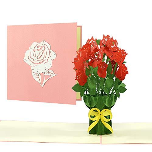 Biglietto di auguri di compleanno con rose rosse   elegante biglietto pop up per compleanno, San Valentino, festa della mamma, anniversario con bouquet di rose 3D   biglietto di auguri o buono, F22
