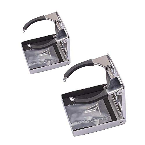 Folding Cup Drink Holder, Stainless Steel Adjustable Drink Cup Holder (Sold in Pairs)