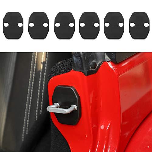 Voodonala for Jeep JK Door Lock Covers Protection Trim for 2007-2018 Jeep Wrangler JK JKU, Grand Cherokee, Chrysler, Dodge Jcuy/Joureny, Caliber, Grand Voager, 2019 RAM 6PCS