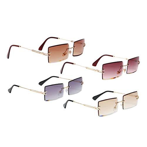 Colcolo 4pcs Moda Mujer Gafas de Sol Rectangulares Clásicas Lente Tintada UV400