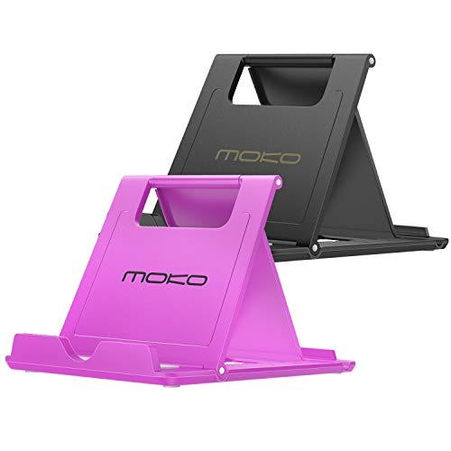MoKo 2Pz Portatile Pieghevole Supporto per Smartphone, Tablet (6-8 ) e E-Reader, per iPhone 12 Mini iPhone 12 iPhone 12 PRO iPhone 12 PRO Max iPhone 11 PRO Max 11, iPad Mini 5 4, Nero Viola