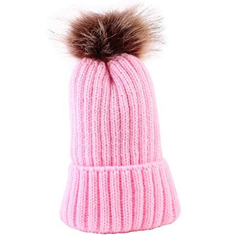 ETXP Bonito Sombrero Pom nio de la Gorrita Tejida de Invierno Chica Chico Chica Beanie Sombrero de Punto de Color slido Chica Casual con Sombrero Beanie Baby Apto para Exterior (Color : Rosa)