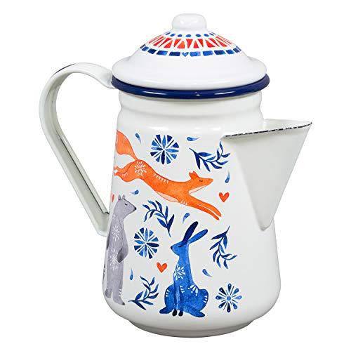 Folklore FOL146 Kaffeekanne Sonnenrise, Keramik, cremefarben
