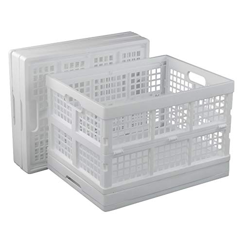 Sosody 34.5 Litre Large Collapsible Plastic Storage Crates Foldable Laundry Baskets Stackable, White, 4 Packs