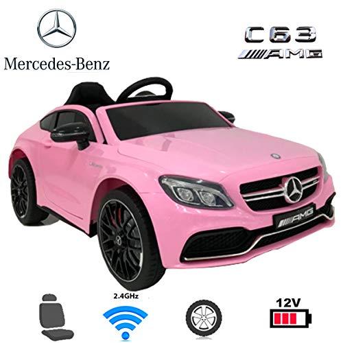 ES-TOYS Coche el/éctrico para ni/ños de Dos plazas Mercedes AMG GT EVA Amortiguador de Golpes Asiento de Cuero