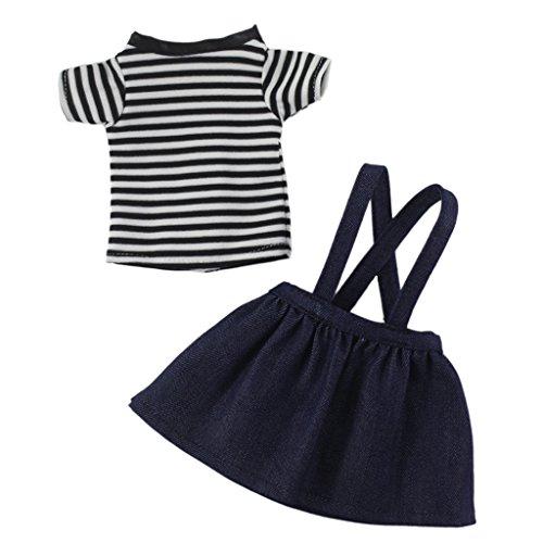 Striped T-Shirt Mini Skirt Dress Shoulder Strap Set for 14.5 Inch American Girl Doll