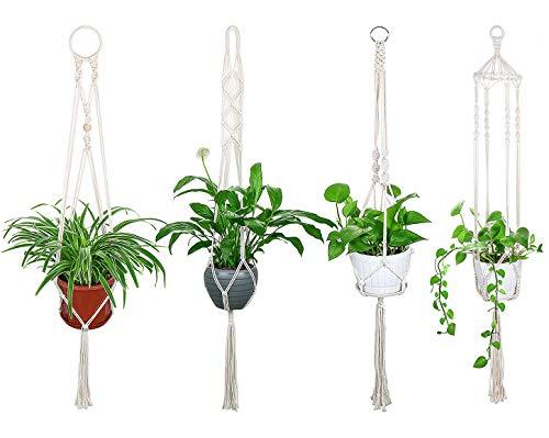 Luxbon 4er Set Makramee Blumenampel Baumwollseil Pflanzenaufhänger Blumentopf Halter für Decken Balkone Wand Boho Deko