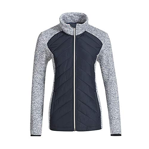 Snow Down Womens Running Sweatshirt Full Zip Fleece Lined Sweater Knit Jacket (Navy, XL)